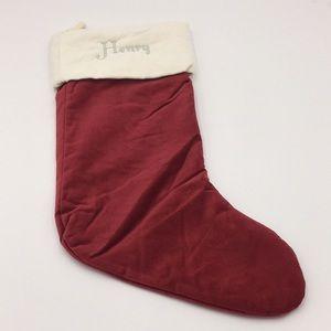 """Pottery Barn Velvet Christmas Stocking """"Henry"""""""